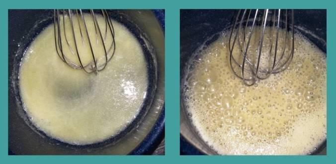 Quando estiver igual a segunda imagem é hora de colocar o leite e demais ingredientes!