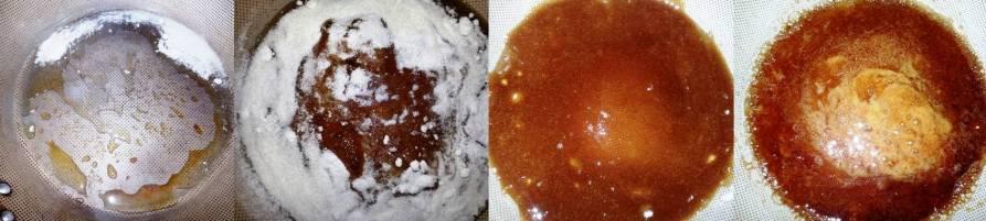 As fases do preparo do caramelo. As duas primeiras imagens são do processo de derretimento por camadas graduais, conforme explicaod na receita. A penúltima imagem é o açúcar já todo derretido, e a última imagem é já depois de por a água. Tente deixar o seu caramelo sempre perto dessa cor, se ficar muito escuro fica amargo.