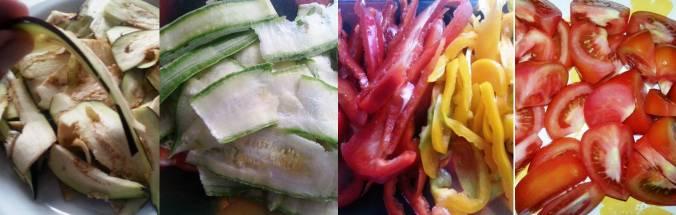 Os legumes cortados.